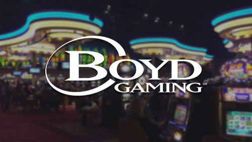 Boyd gaming logo with casino background