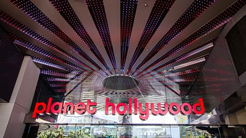 Exterior entrance of the Planet Hollywood Casino and Resort on the strip in Las Vegas