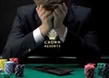 Crown Resorts logo with frustrated gambler