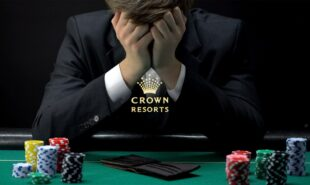 Crown Resorts logo with frustrated gambler