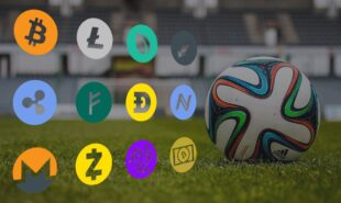 Soccer ball with different cryptocurrencies logos