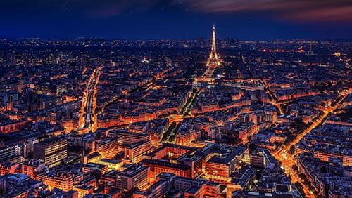 Night view of Paris, France