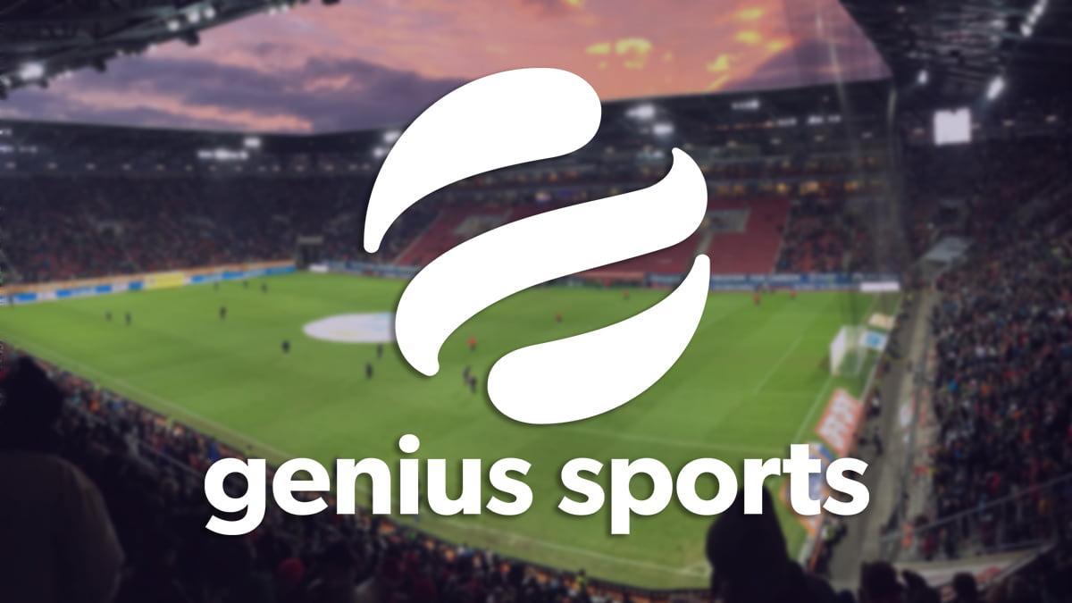 Genius sport logo, sports arena background