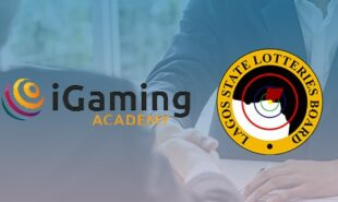 iGaming Academy and LSLB logo against a background of businessmen shaking hands