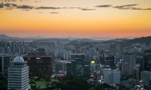 Myeongdong Seoul Korea sunset scenery