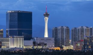 Stormy dusk sky behind the Stratosphere and Fontainebleau towers on the Las Vegas Strip