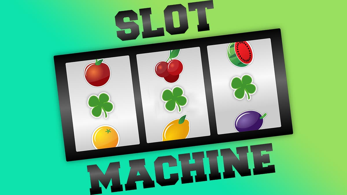 Slot machine with three clover leaf in a row