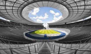 An empty sports stadium